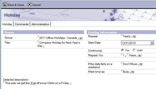 Importing Holidays