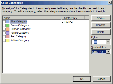 Outlook Categories