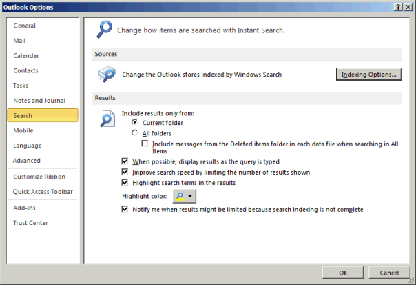 Outlook Search Settings