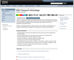 IBM Passport Advantage initial page