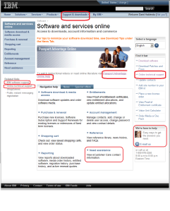 IBM Passport Advantage Support links on homepage