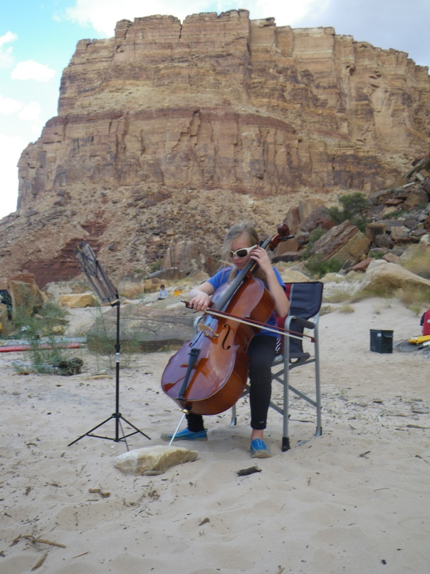 Ariel playing her cello in camp