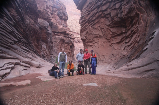Hiking North Canyon - r to l: Lucy, Gary, Craig, Kika, Kevin, Captain Natalia, Ariel, & Commodore Dave