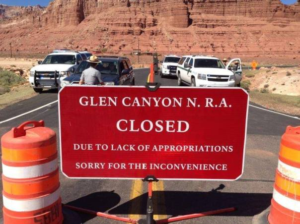 4 Park Service vehicles and a handful of Park Rangers block Lees Ferry access 24 hours/day