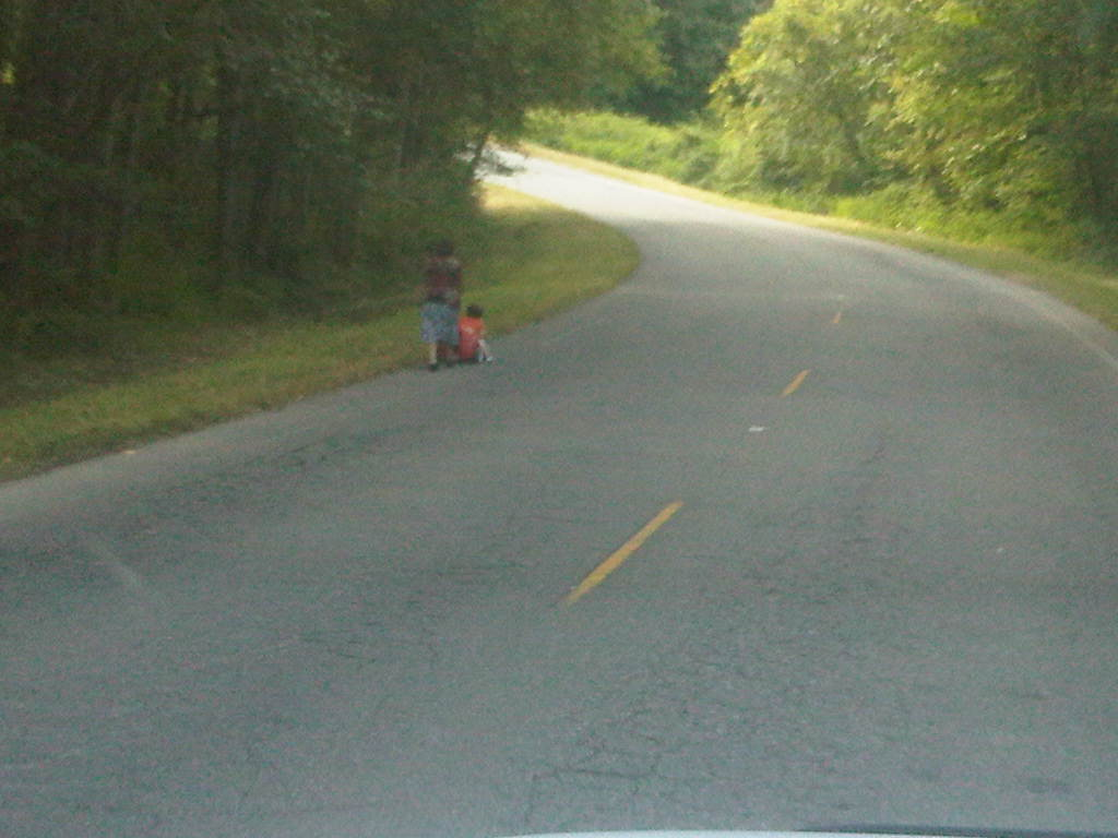 Mother pushing baby stroller on Hollyhills Dr