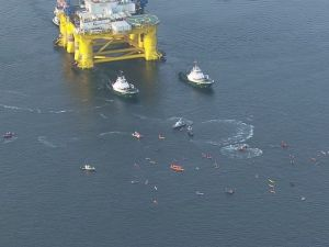 Protestors blocking Polar Pioneer from leaving Seattle.