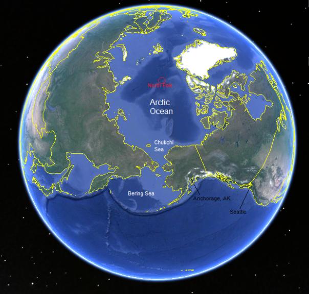 Polar Pioneer oil rig heading to Chukchi Sea