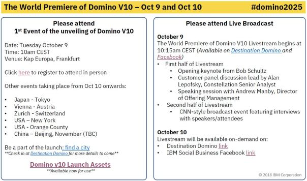 Domino10 Event schedule